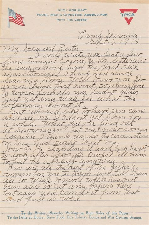 wwi letters wwi letter camp devens september