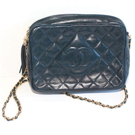 vintage quilted chanel bag  navy blue leather ebth