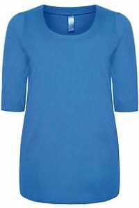 Cornflower Blue Band Scoop Neckline Basic T-shirt With 3/4 ...