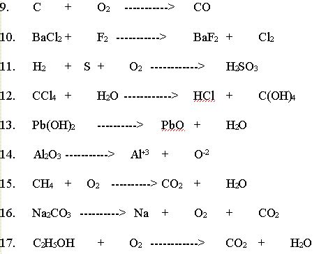 synthesis and decomposition reactions worksheet free