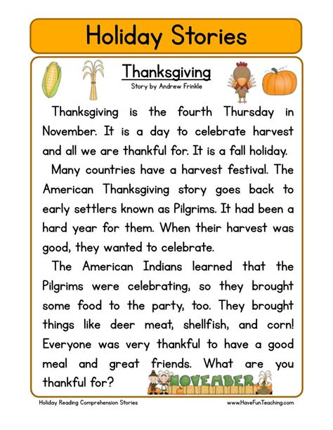 thanksgiving facts for preschoolers reading comprehension worksheets teaching 992