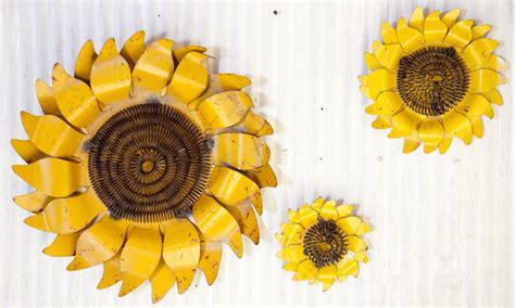 rustic tin sunflower wall