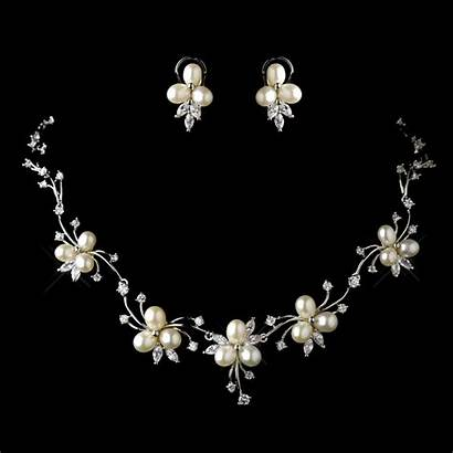 Pearl Jewelry Floral Necklace Bridal Silver Earrings