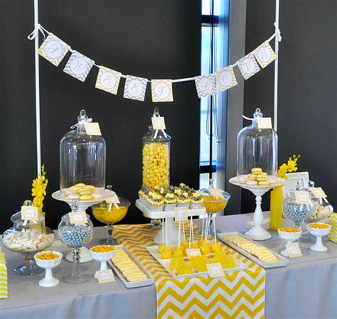 bridal shower decor package yellow gray chevron printable baby shower or bridal shower