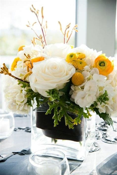 black yellow white wedding centerpiece wedding decor