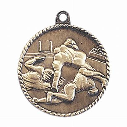 Football Team Award Medallion Medal Relief Gold