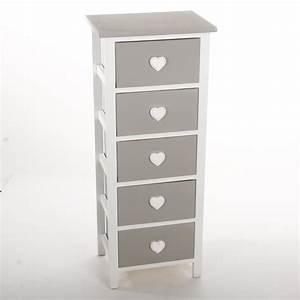 Chiffonnier 5 Tiroirs : meuble commode chiffonnier 5 tiroirs design coeur en bois achat vente chiffonnier ~ Teatrodelosmanantiales.com Idées de Décoration