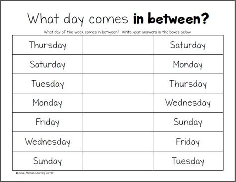 days   week worksheets    images days