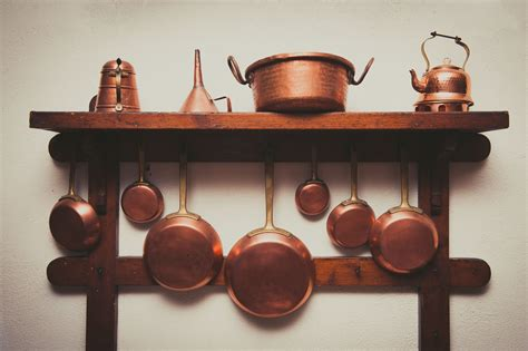 copper pans cookware kitchen pot pots utensils benefits hanging lacquer shelf remove different ware wall arranged kind wooden cooking decor