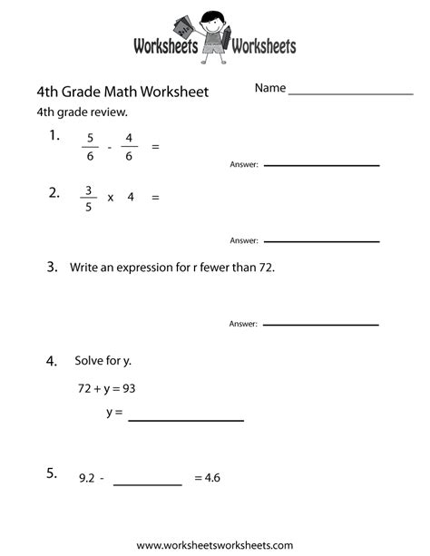 fourth grade math practice worksheet  printable