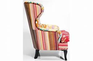 Fauteuil baroque en tissu ying patchwork declikdeco for Fauteuil multicolore design