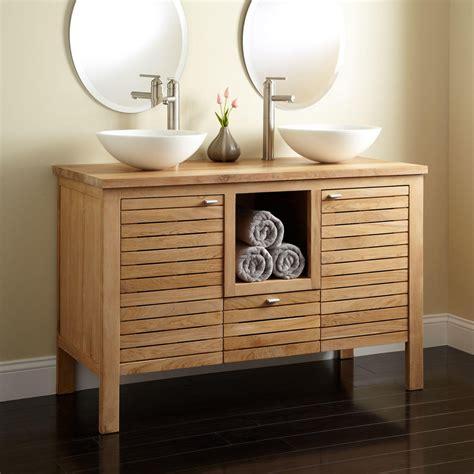 48 Quot Wickham Teak Double Vessel Sink Vanity Bathroom