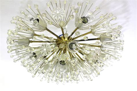 brass and crystal ls lucite flowers and crystals brass emil stejnar flush mount