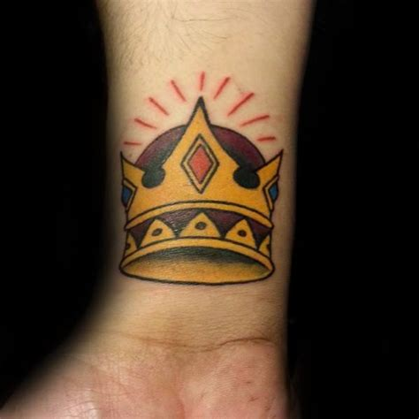 traditional crown tattoo designs  men  school ideas