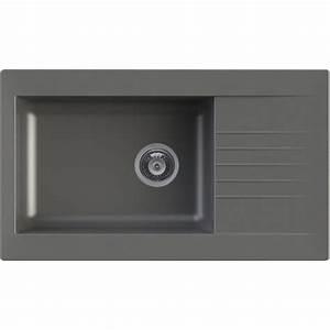 Evier En Gres Blanc 1 Bac : evier encastrer r sine b ton karta 1 grand bac avec ~ Premium-room.com Idées de Décoration