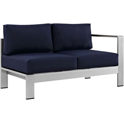 Shore Loveseat by Shore Right Arm Corner Sectional Outdoor Patio Aluminum