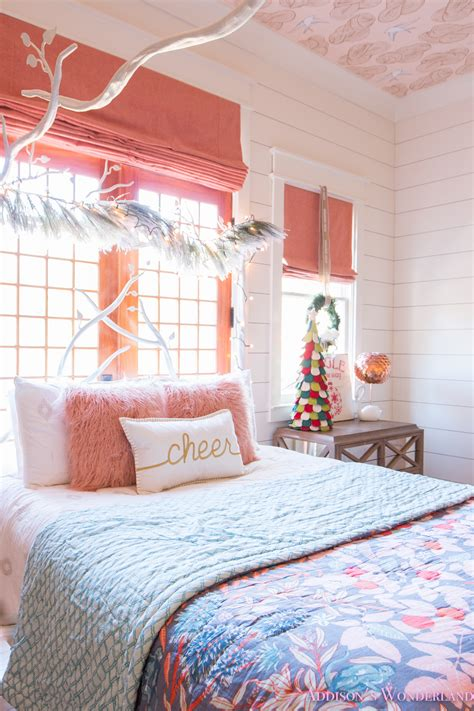 christmas decor  addisons coral girls bedroom