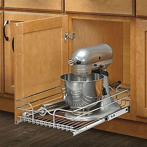 pull out wire shelves for kitchen cabinets rev a shelf 174 single tier pull out wire basket bed bath 9743