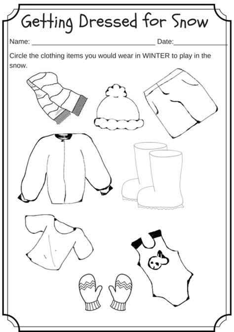 winter weather wear preschool worksheet what would you