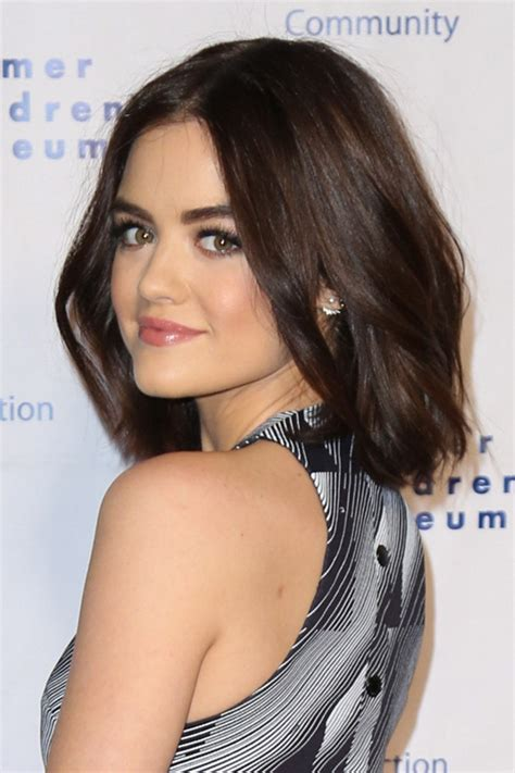 Lucy Hale Straight Dark Brown Blunt Cut, Bob Hairstyle ...