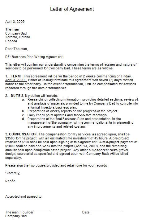 printable letter  agreement form generic