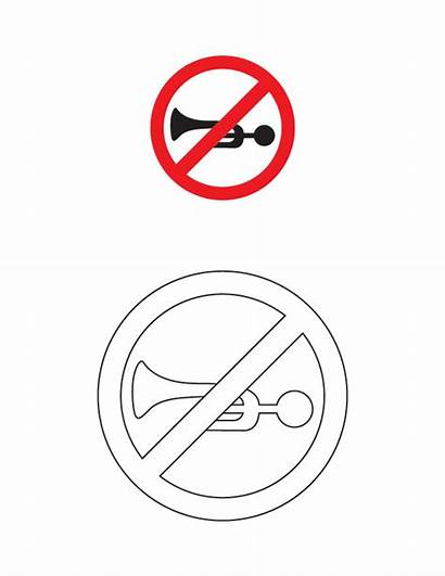 Coloring Traffic Horn Prohibited Signs Printable Road
