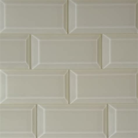 beige solid color beveled glossy subway mosaic glass tile