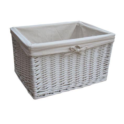 white wicker rectangular storage basket