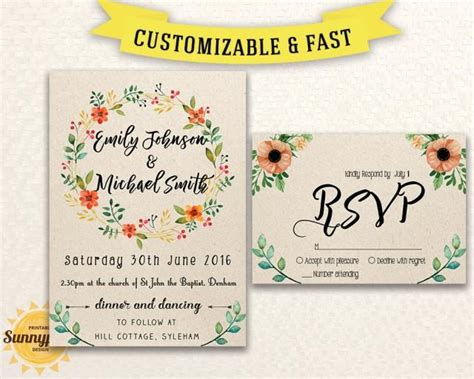 printable wedding invitation template download floral