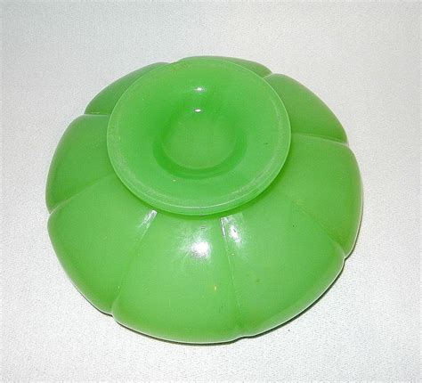 Vintage Fenton Ls by Vintage Fenton Jadeite Melon Glass Bowl From