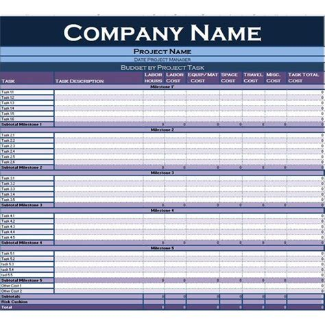 excel project budget template  simplify