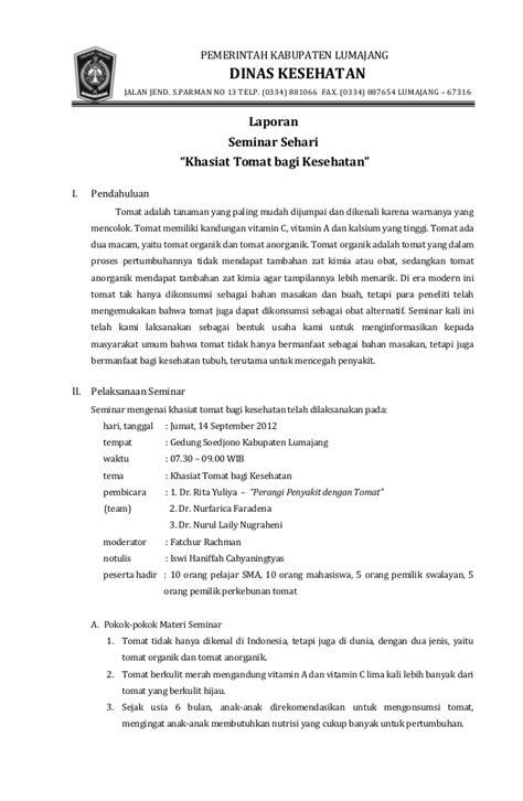 Contoh Notulen Seminar Kesehatan by Contoh Laporan Diskusi Dan Liran