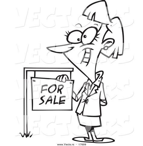 vector   cartoon female realtor    sale sign