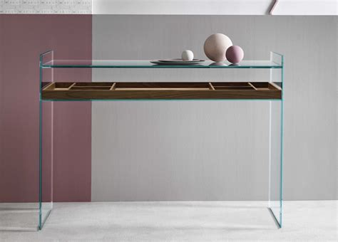 console table used as desk tonelli quiller glass console table desk contemporary