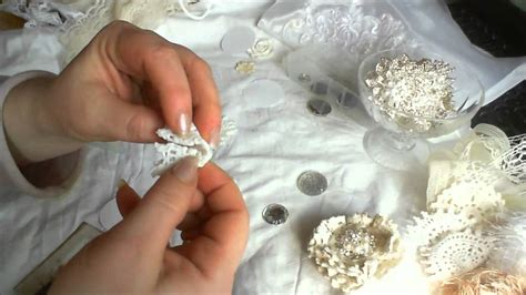 how to make shabby chic flowers out of fabric shabby chic folded doilies tutorial youtube