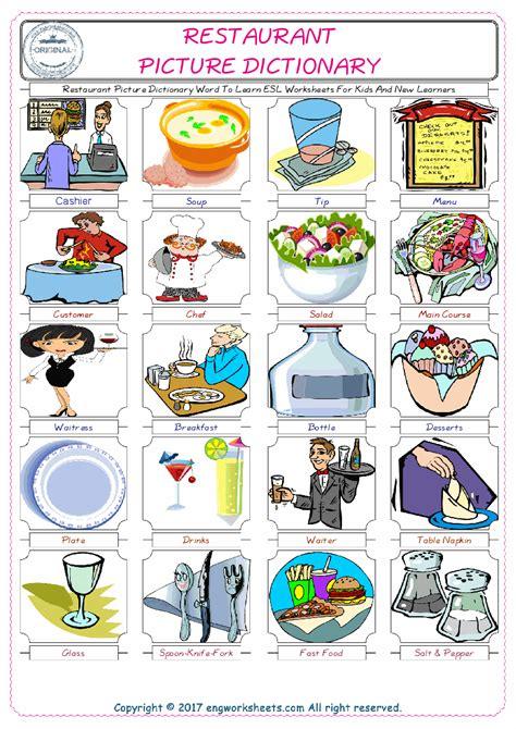 restaurant esl printable english vocabulary worksheets