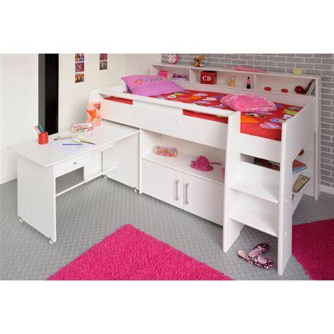bureau blanc avec rangement lit combiné surélevé avec bureau et rangement intégrés 1