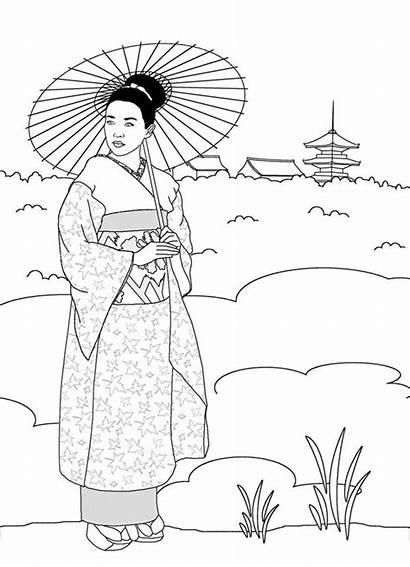 Geisha Coloring Japanese Pages Japan Land Drawing