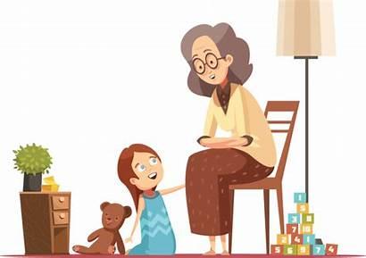 Cartoon Grandmother Talking Child Nieta Nonna Senior