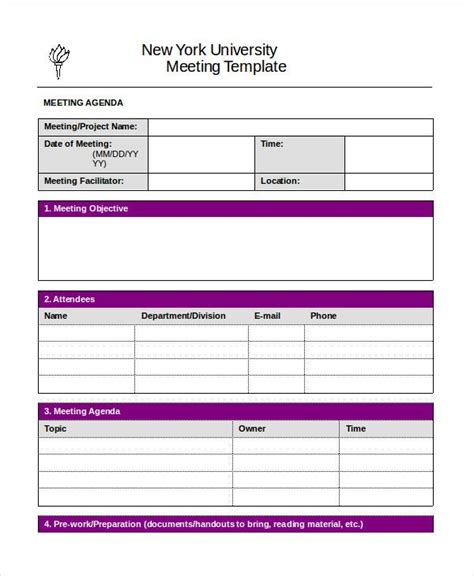 word agenda template   word documents