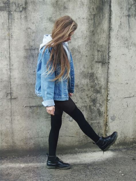 Soft Grunge Style? What? How? u2013 Denim Jacket Sweater Leggings Combat Boots.