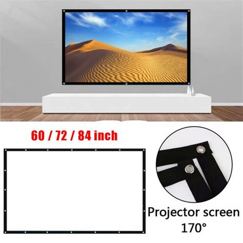 Foldable 16:9 Projector 60 72 84 Inch White Projection