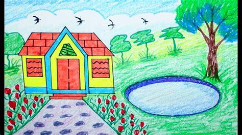 draw scenery house mountain draw  beginners
