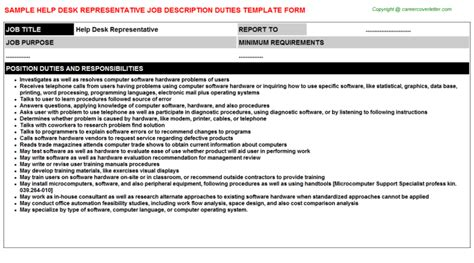 help desk professional job description help desk assistant job descriptions sles