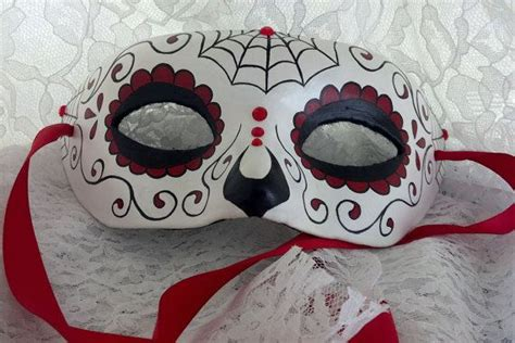 day   dead hand painted paper mache mask red