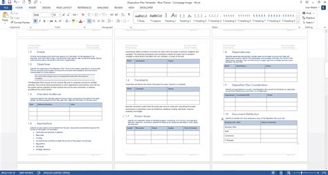 disposition plan template ms word instant