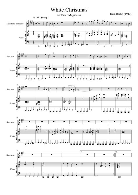You'll find your christmas music at sheet music plus. White Christmas with piano solo sheet music for Piano, Alto Saxophone download free in PDF or MIDI