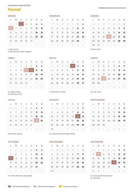 calendario laboral ferrol calendario laboral