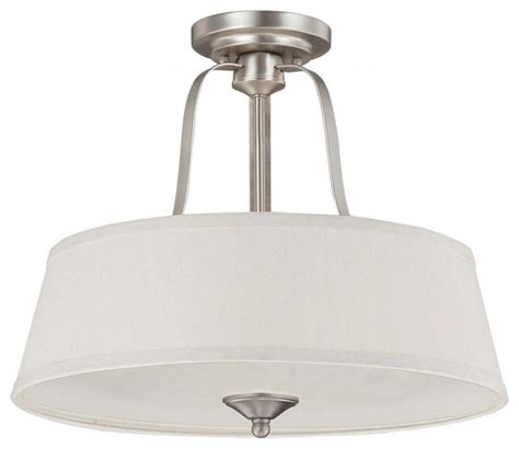 three light pewter drum shade semi flush mount