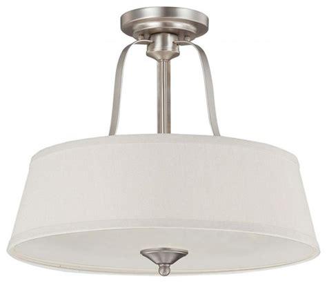 three light pewter drum shade semi flush mount